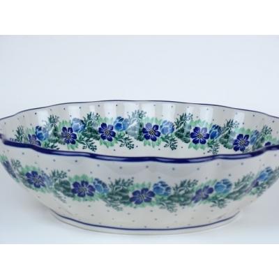 Bunzlau geribbeld schaal 27 cm  *447- blauw-groen *