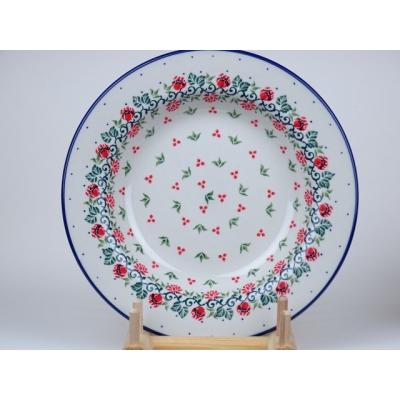 Bunzlau soep bord 23 cm  *014- rood bloempje *